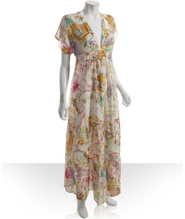 Daughters of the Revolution doll house print chiffon 'Butterfly' maxi dress