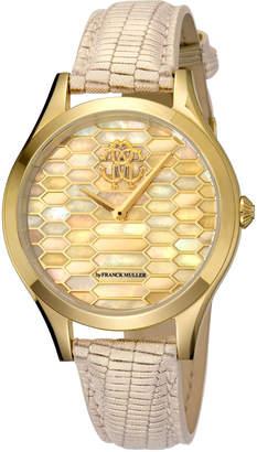 Roberto Cavalli 36mm Scaly Watch w/ Leather Strap, Beige/Gold