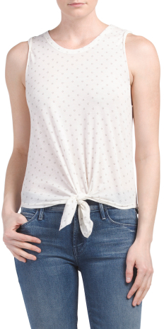 Star Print Knotted Tank