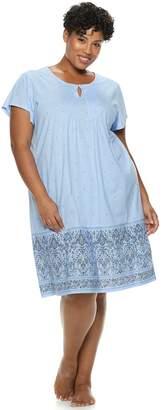 Croft & Barrow Plus Size Printed Pintuck Nightgown