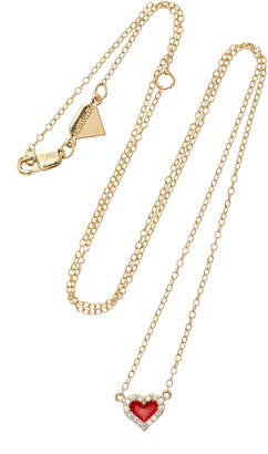 Alison Lou 14K Gold Diamond Heart Necklace