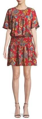 Shoshanna Emma Smocked-Waist Floral Mini Dress