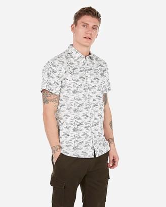 Express Slim Beach Print Short Sleeve Shirt