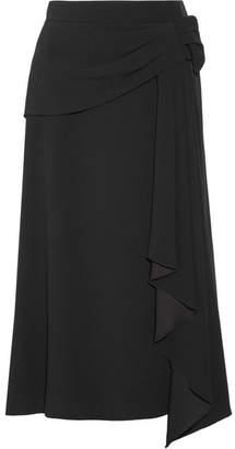 Prada Draped Crepe Midi Skirt - Black