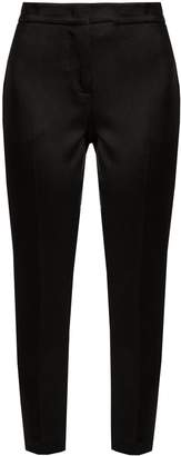 MSGM Hammered-satin cropped trousers
