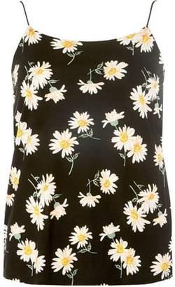 Dorothy Perkins Womens Black Daisy Print Spaghetti Camisole Top