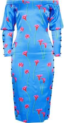 Caroline Constas Dania Off-the-shoulder Floral-print Washed Stretch-silk Dress