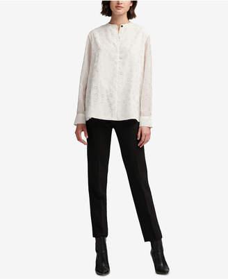 DKNY Printed Mandarin-Collar Blouse