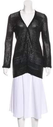 Balenciaga Coated V-Neck Cardigan