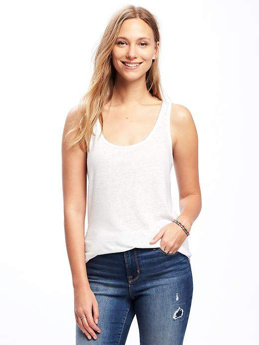 Relaxed Linen-Blend Curved-Hem Tank for Women