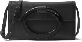 MICHAEL Michael Kors Michael Kors Baxter Calfskin Leather Convertible Clutch - Black