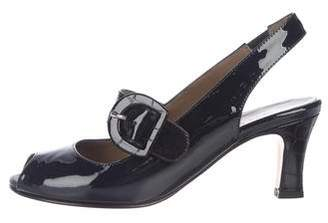 Anyi Lu Patent Leather Peep-Toe Pumps