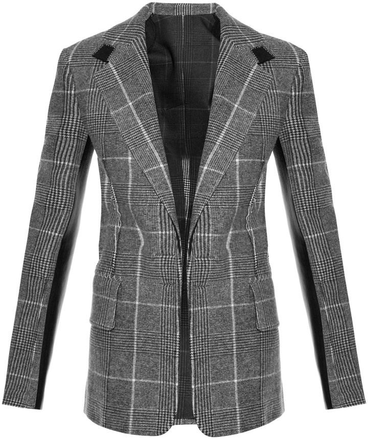 CALVIN KLEIN COLLECTION Leather-panel checked wool blazer