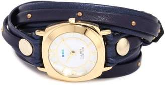 La Mer Women's LMODYSLY001 Studded and Layered Wraps Navy Shimmer Studded Case Watch