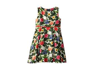 Oscar de la Renta Childrenswear Mikado Flower Jungle Button Dress with Pleats (Toddler/Little Kids/Big Kids)
