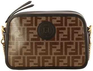 Fendi Mini Bag Camera Case Bag In Smooth And Vitrified Leather With Ff Print