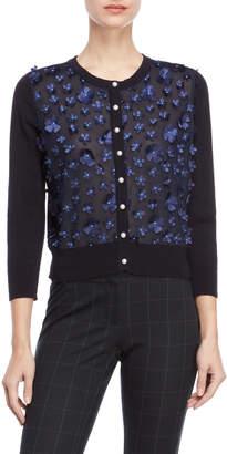 Karl Lagerfeld Paris 3D Floral Button Cardigan