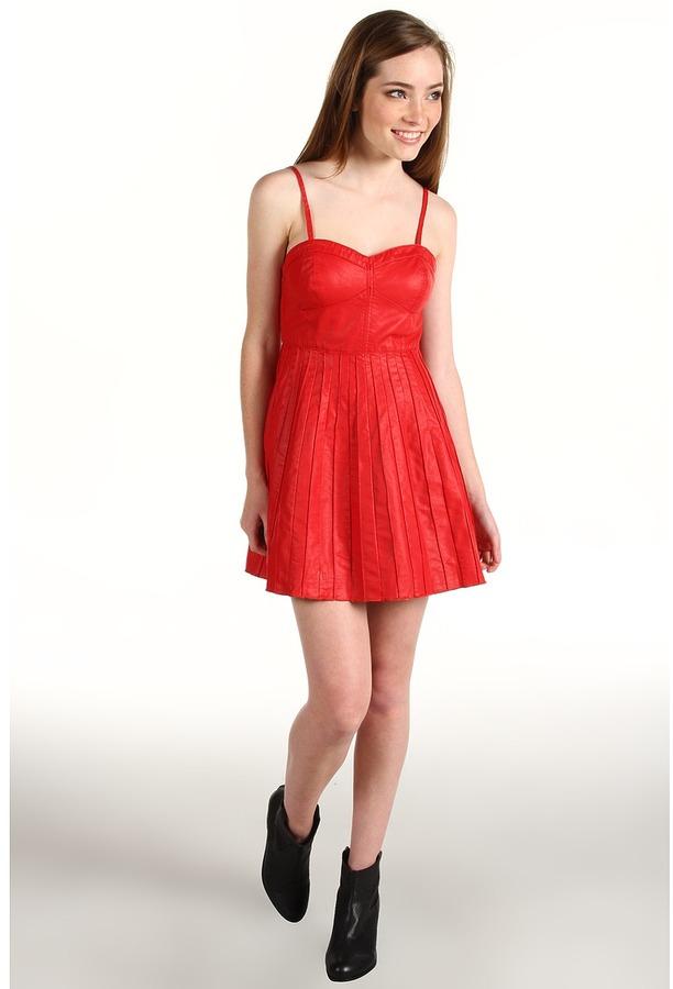 Free People Vegan Leather Pleated Dress (Scarlet) - Apparel
