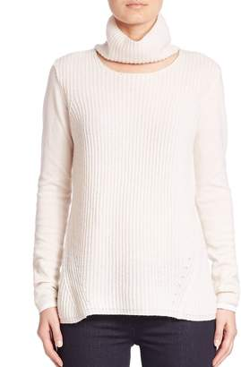 Elie Tahari Women's Francesca Cashmere Cutout Turtleneck Sweater