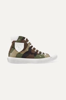 Saint Laurent Bedford Logo-appliquéd Distressed Printed Canvas High-top Sneakers - Army green