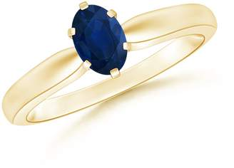Angara.com 6 Prong Tapered Shank Oval Solitaire Sapphire Ring in 14K Yellow Gold (6mm Blue Sapphire)