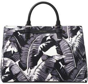 Dolce & Gabbana Pebbled Leather-Trimmed Printed Canvas Tote