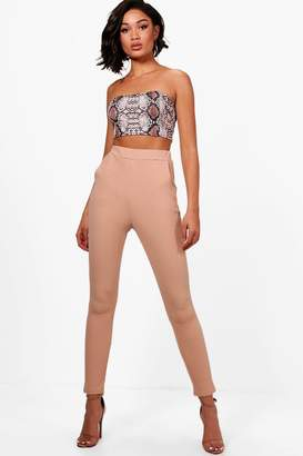 boohoo Crepe Stretch Skinny Trousers