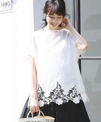 Coen (コーエン) - coen 裾レースコンビボートネックTシャツ(ブラック→WEB限定カラー)