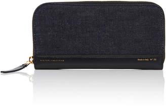 Victoria Beckham Leather-Trimmed Denim Wallet
