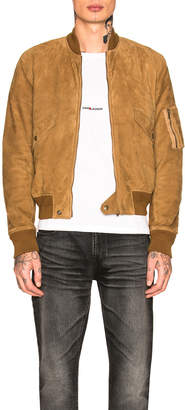 Saint Laurent Full Zip Suede Jacket