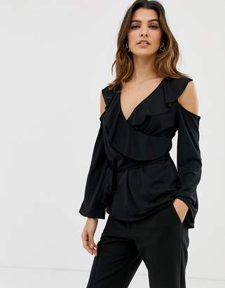 Asos DESIGN Belted Wrap Top With Ruffle Cold Shoulder