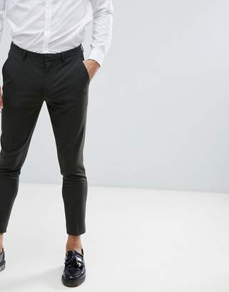 Asos Design Super Skinny Cropped Smart Pants In Khaki