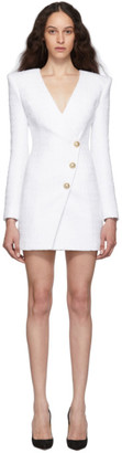 Balmain White Tweed Cache-Coeur Short Dress