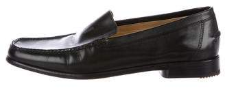 Hermes Leather Square-Toe Loafers