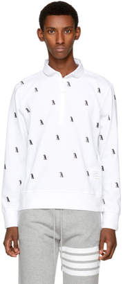 Thom Browne White Long Sleeve Penguin Collection Polo
