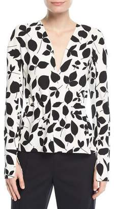 Narciso Rodriguez Leaf-Print Long-Sleeve Silk Blouse