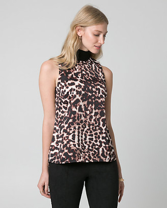 Le Château Leopard Print Satin Mock Neck Top