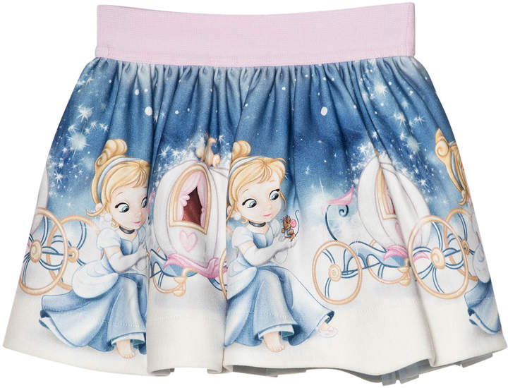 Monnalisa Blue Cinderella Print Skirt