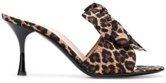 LaBelle Les Chaussons De leopard print bow mules