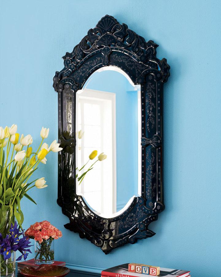 Horchow Black Venetian-Style Mirror
