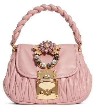 Miu Miu Crystal Embellished Matelasse Leather Satchel