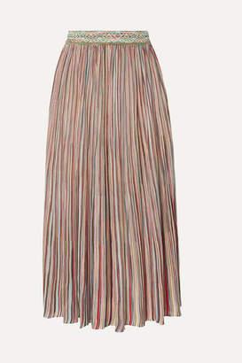 Missoni Pleated Crochet-knit Midi Skirt - Pink