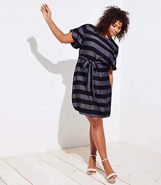 LOFT Plus Striped Petal Sleeve Tie Waist Dress