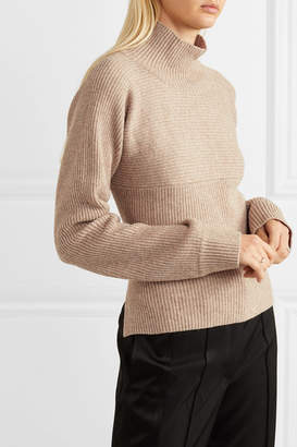 LE 17 SEPTEMBRE - Open-back Ribbed-knit Turtleneck Sweater - Light brown