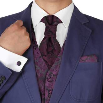 BEIGE VS2008-2XL Purple Patterned Xmas Gift Vests Cufflinks Hanky Ascot Tie By Y&G