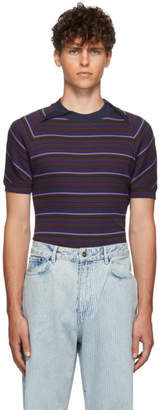 Y/Project Blue Striped Double Collar T-Shirt