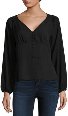 BELLE + SKY Long Sleeve Button Front Corset Top