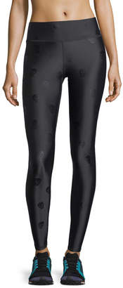 Terez Skull Foil Printed Tall Band Performance Leggings