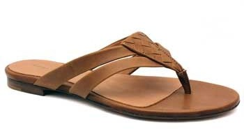 "Bottega Veneta 307941"" Brown Leather Flat Thong Sandal"