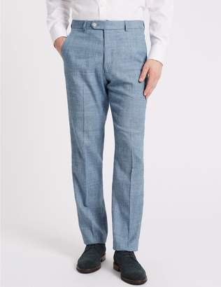 Marks and Spencer Linen Miracle Regular Fit Textured Trousers